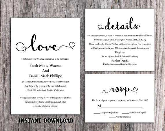 Diy Wedding Invitation Template