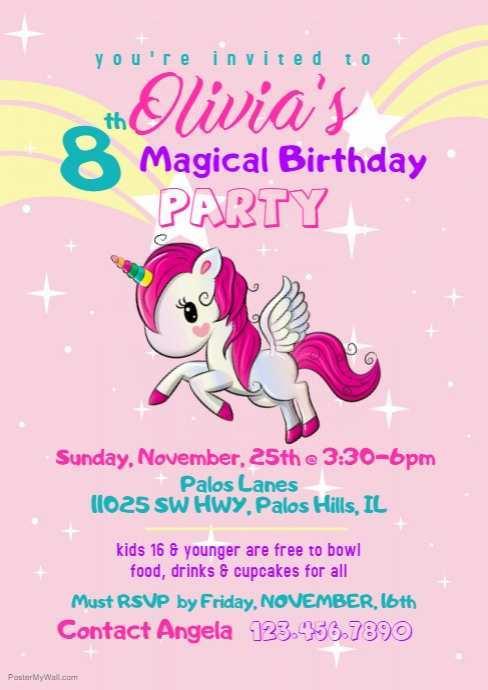 68 Printable Birthday Invitation Template Unicorn Formating for Birthday Invitation Template Unicorn