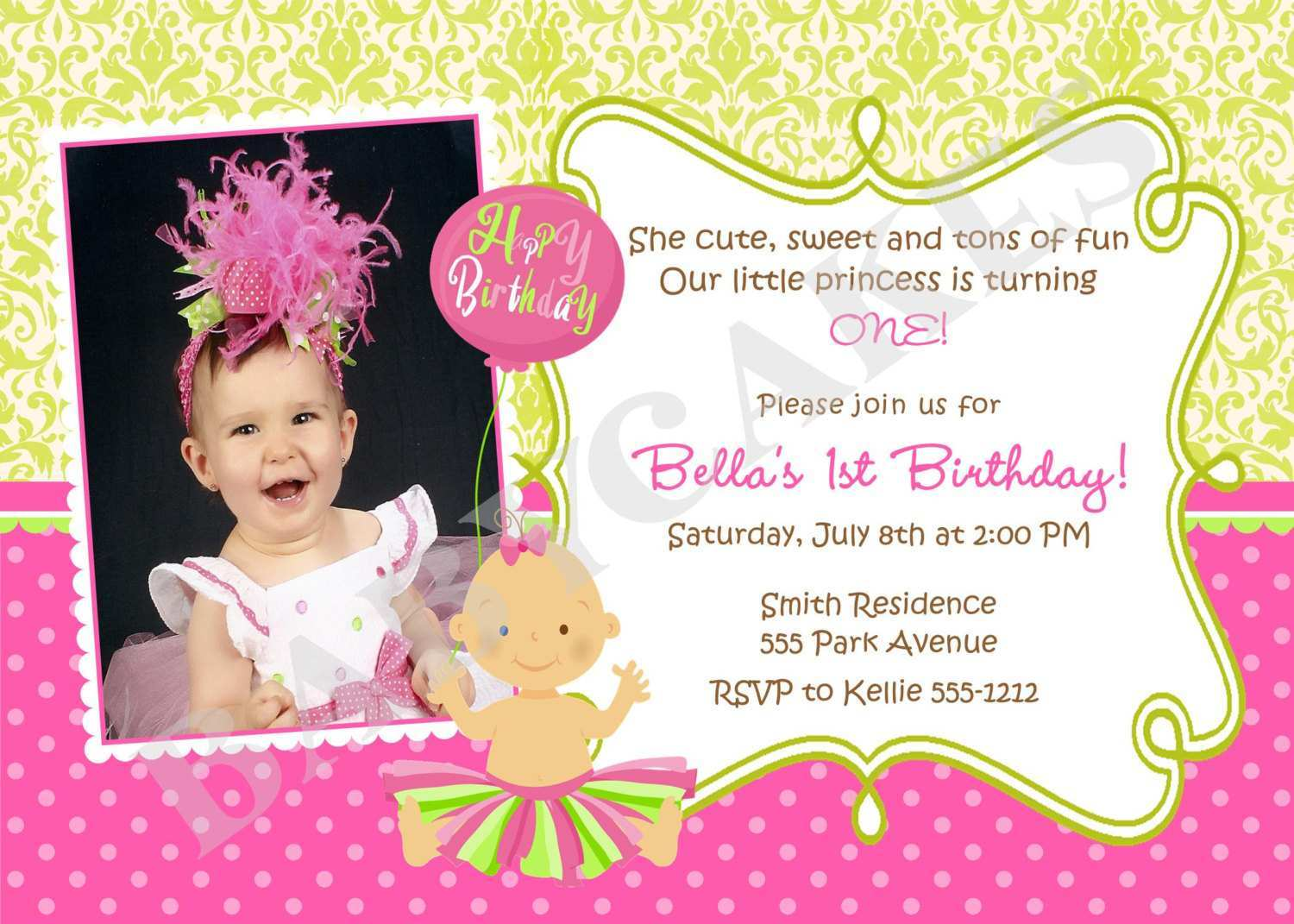69 Adding Birthday Invitation Template For Baby Girl for Ms Word for Birthday Invitation Template For Baby Girl
