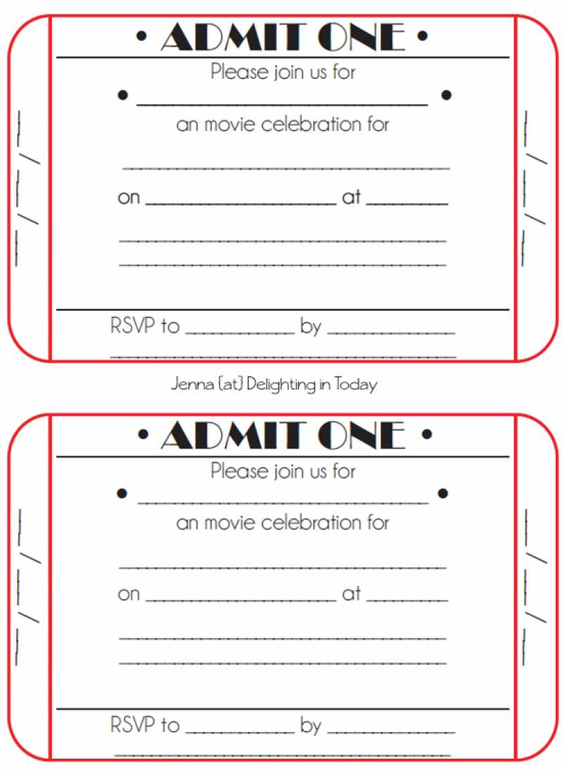 4 Creative Blank Movie Ticket Invitation Template For Free for