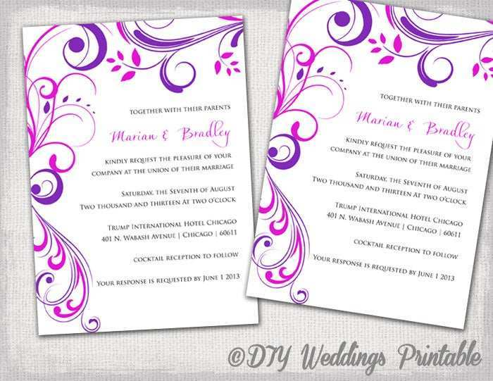 70 Report Wedding Invitation Templates Violet PSD File with Wedding Invitation Templates Violet
