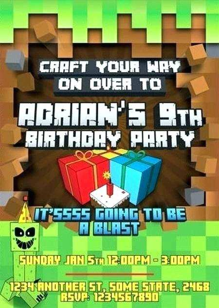 70 Visiting Birthday Invitation Template Minecraft Photo by Birthday Invitation Template Minecraft