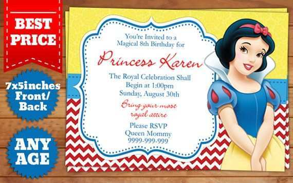 71 Creating Birthday Invitation Template Snow White For Free for Birthday Invitation Template Snow White