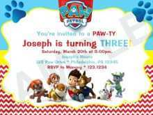 72 Printable Paw Patrol Party Invitation Template PSD File for Paw Patrol Party Invitation Template