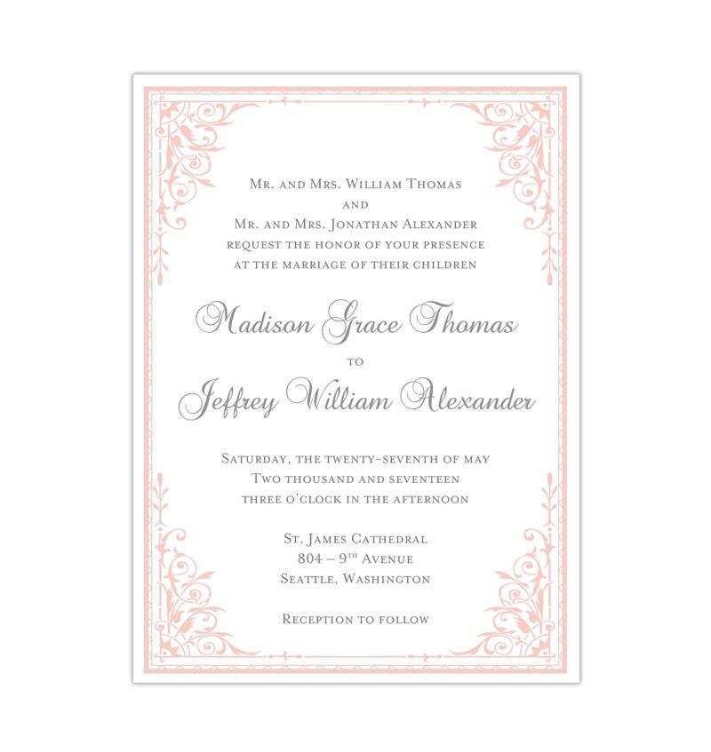 72 The Best Blush Pink Wedding Invitation Template in Photoshop with Blush Pink Wedding Invitation Template