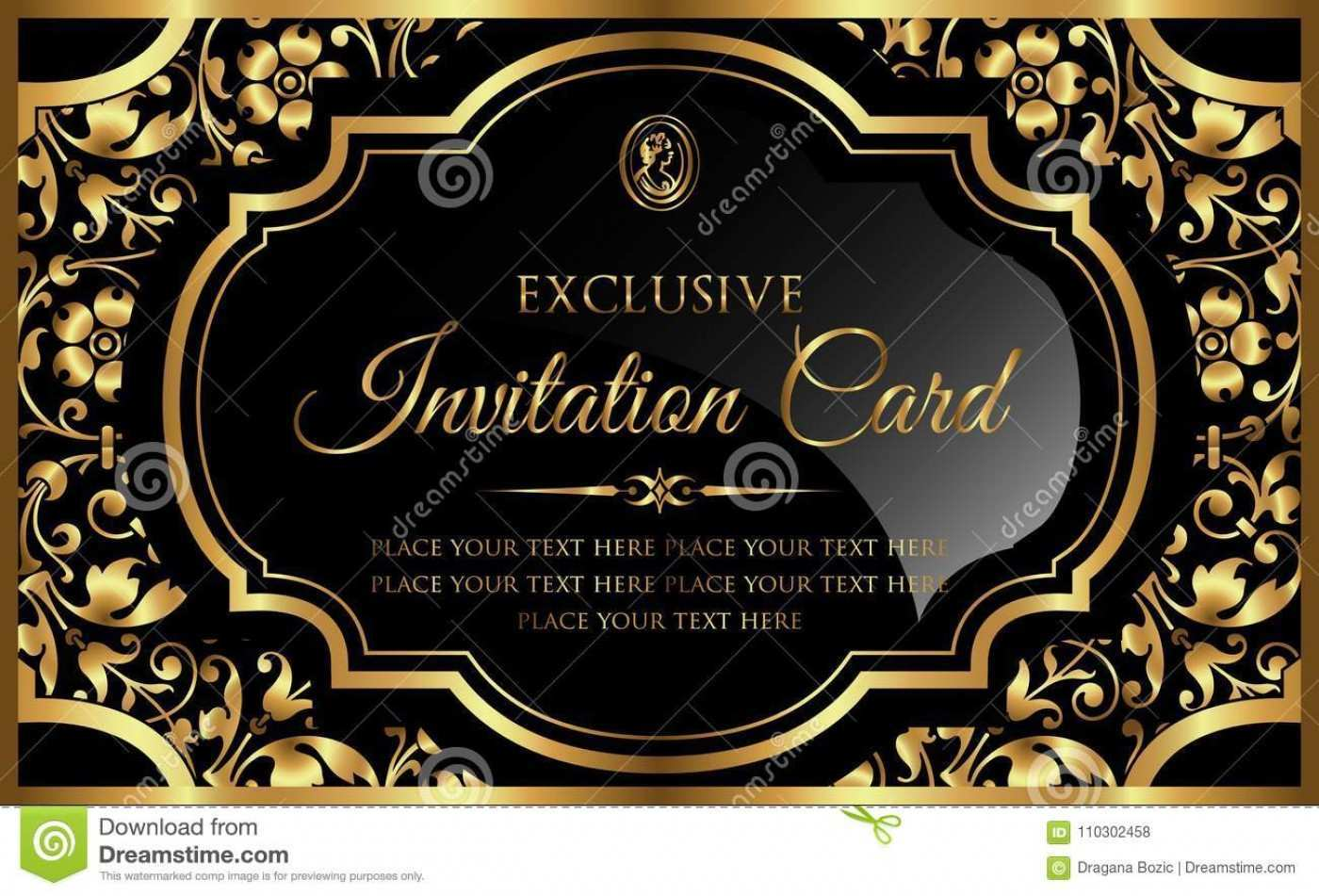 75 Standard Black And Gold Blank Invitation Template Templates by Black And  Gold Blank Invitation Template - Cards Design Templates