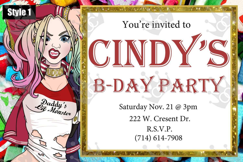 5 Creative Harley Quinn Birthday Invitation Template in Photoshop