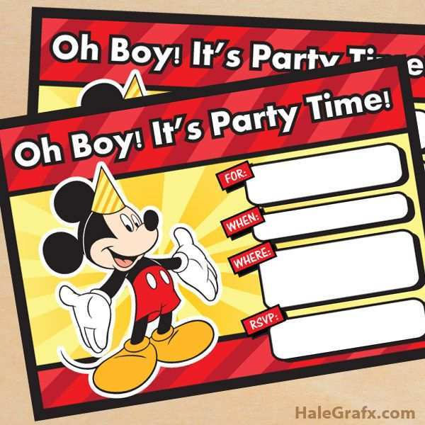 76 Creative Mickey Mouse Blank Invitation Template Download by Mickey Mouse Blank Invitation Template