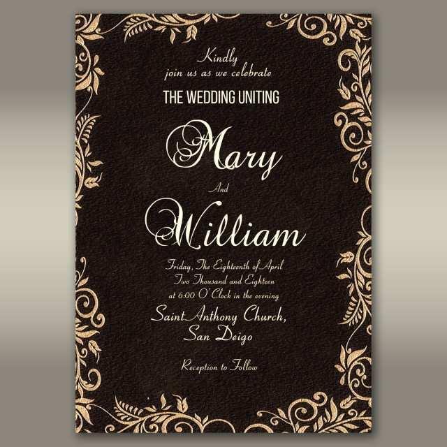 78 Free Printable Elegant Wedding Invitation Card Template Now With Elegant Wedding Invitation Card Template Cards Design Templates