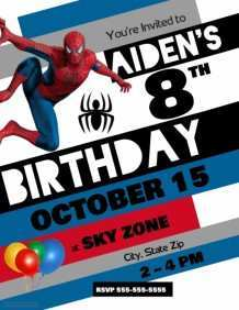 81 Format Birthday Invitation Template Spiderman Templates with Birthday Invitation Template Spiderman