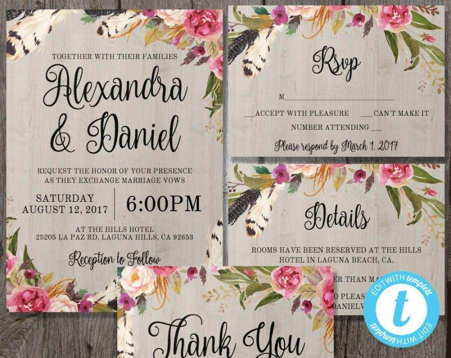 81 Online Boho Wedding Invitation Template Now by Boho Wedding Invitation Template