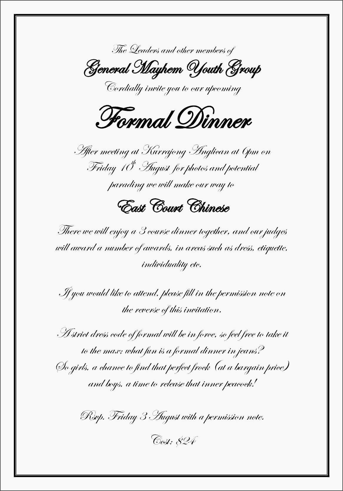 5 Customize Example Of Gala Dinner Invitation for Ms Word for