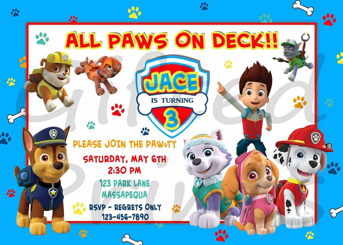 82 Visiting Free Paw Patrol Birthday Invitation Template With Stunning Design For Free Paw Patrol Birthday Invitation Template Cards Design Templates
