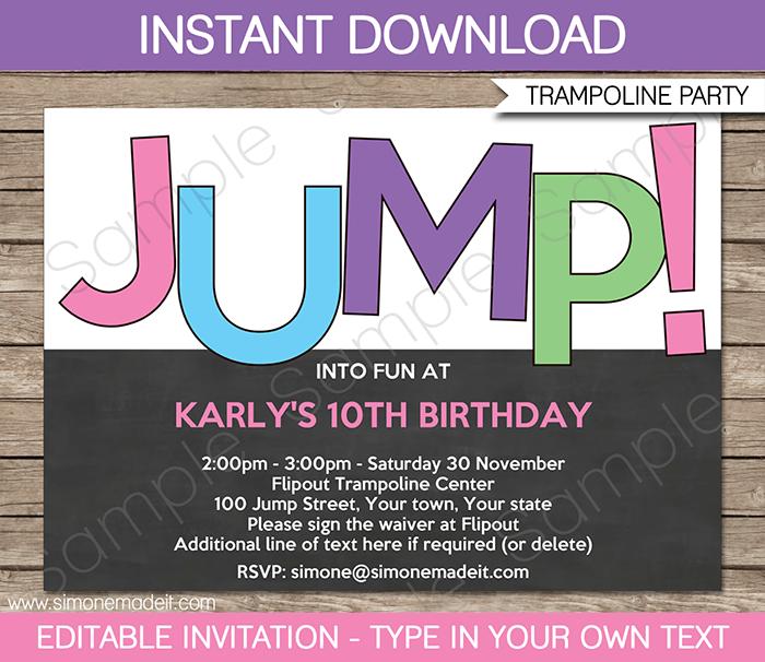 84 Creating Sky Zone Birthday Invitation Template for Ms Word for Sky Zone Birthday Invitation Template