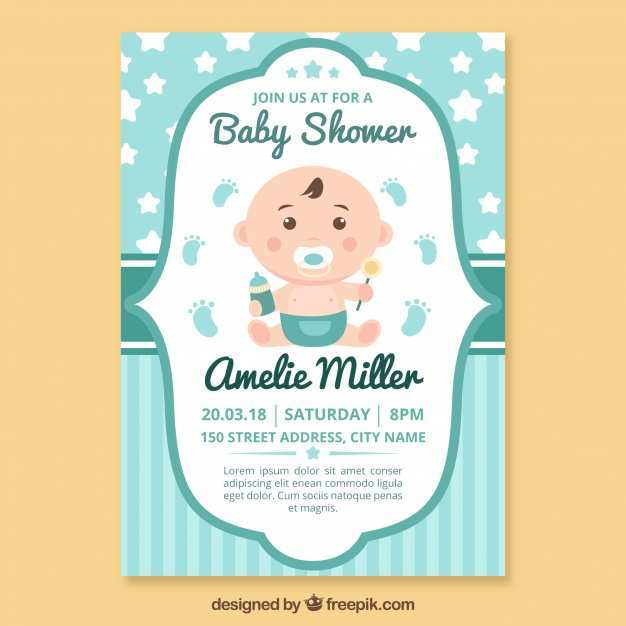 84 Standard Baby Shower Invitation Template Vector With Stunning Design for Baby Shower Invitation Template Vector