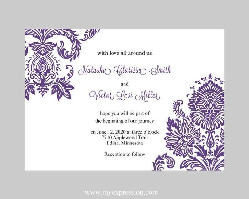 85 Best Wedding Invitation Templates Violet Maker for Wedding Invitation Templates Violet