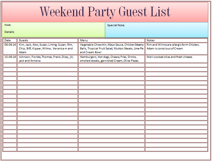 86 Best Party Invitation List Template Templates for Party Invitation List Template