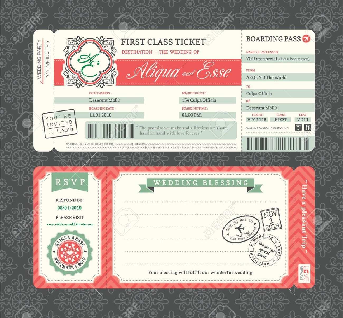 87 Free Boarding Pass Wedding Invitation Template PSD File by Boarding Pass Wedding Invitation Template