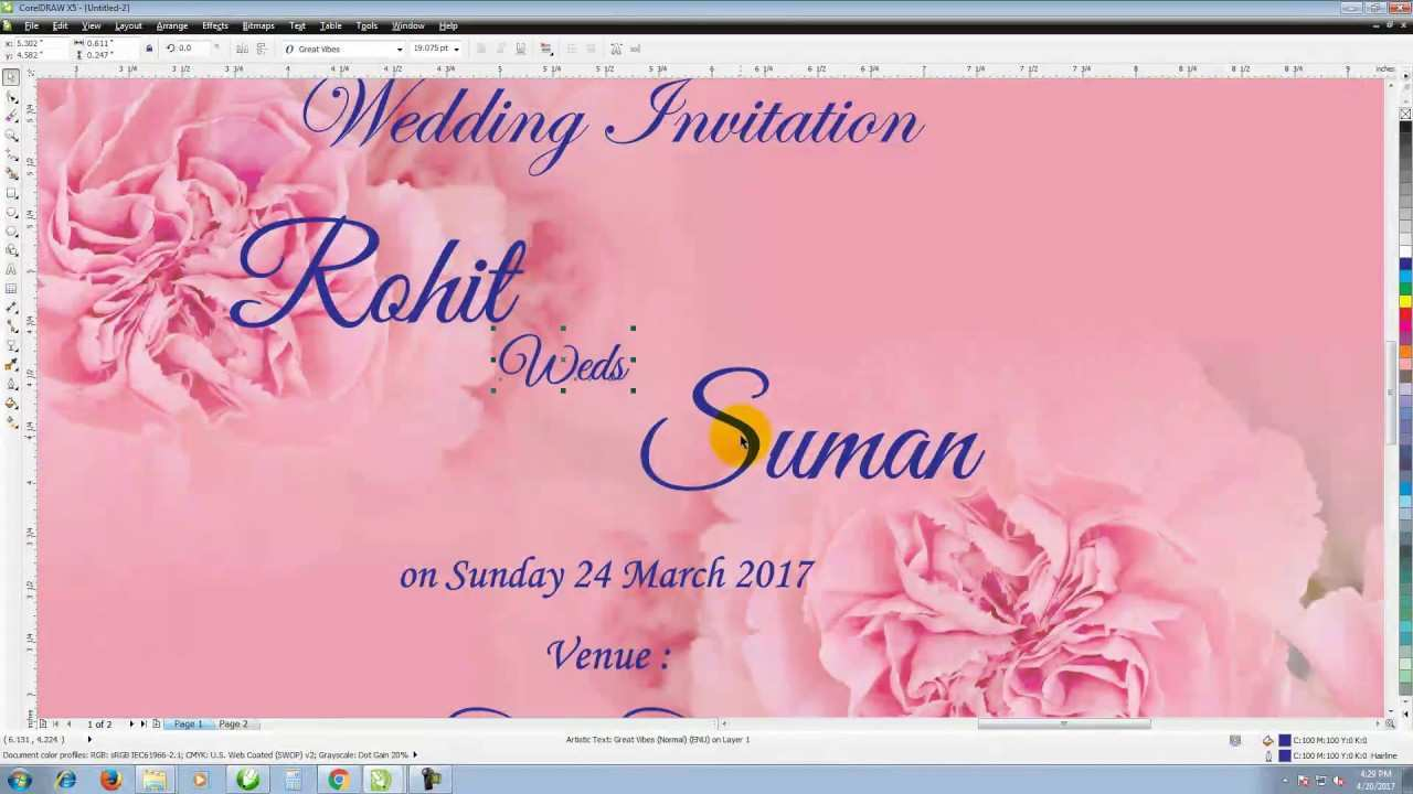 5 Printable Wedding Invitation Template Coreldraw Download with