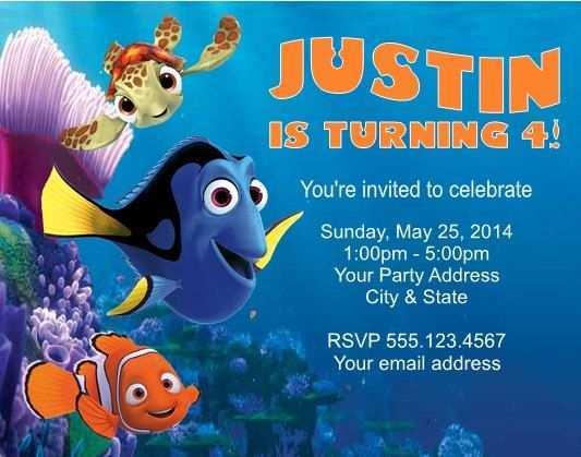 87 The Best Nemo Birthday Invitation Template PSD File for Nemo Birthday Invitation Template