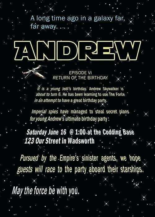 birthday invitation template star wars