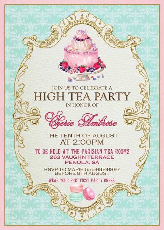 88 Free Printable Victorian Tea Party Invitation Template for Ms Word for Victorian Tea Party Invitation Template