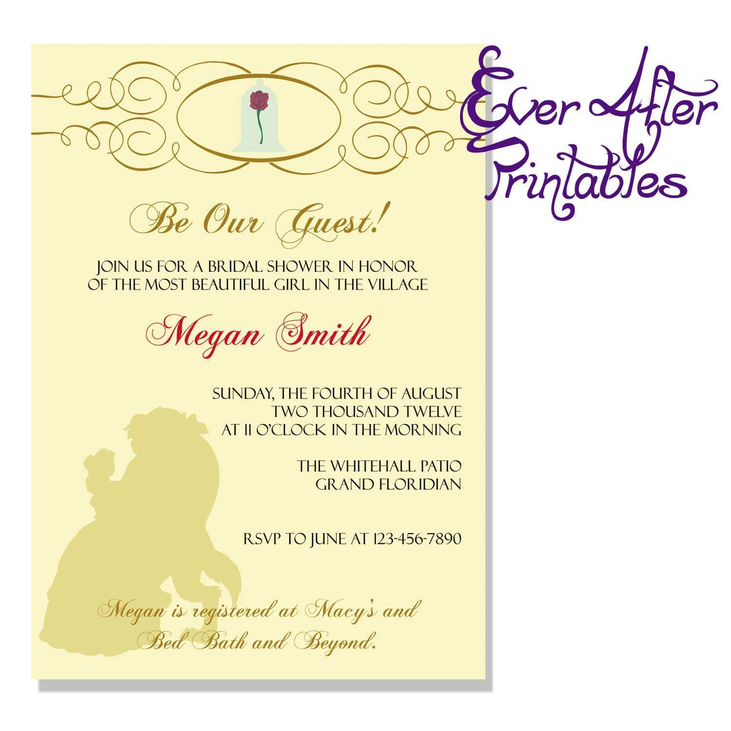 3 Standard Beauty And The Beast Wedding Invitation Template Free