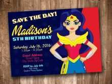 Wonder Woman Birthday Invitation Template Free