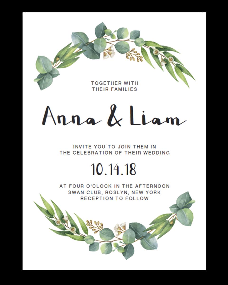 89 Standard Wedding Invitation Template Eucalyptus for Ms Word for Wedding Invitation Template Eucalyptus