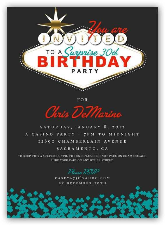 90 Printable Vegas Party Invitation Template For Free with Vegas Party Invitation Template