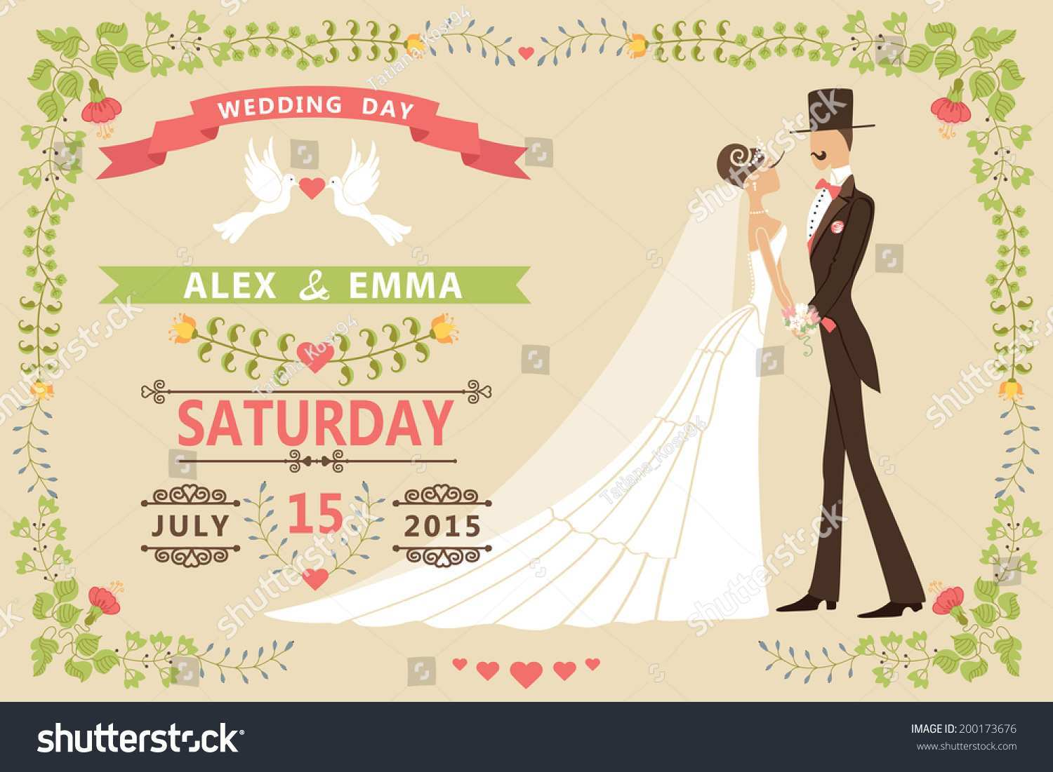 Wedding Invitation Template Cartoon Cards Design Templates