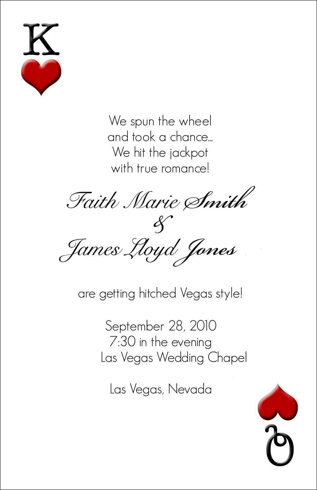 91 Printable Vegas Wedding Invitation Template In Word By Vegas Wedding Invitation Template Cards Design Templates