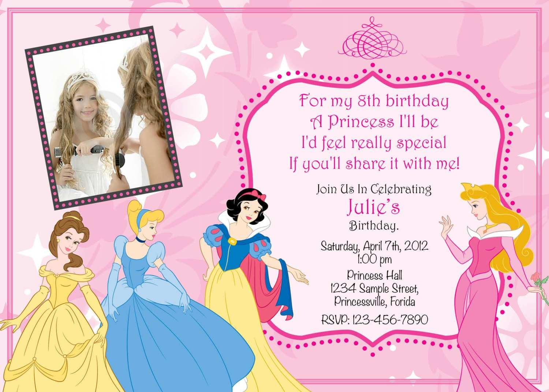 Astounding 92 Format Disney Princess Birthday Invitation Template Templates Funny Birthday Cards Online Inifofree Goldxyz