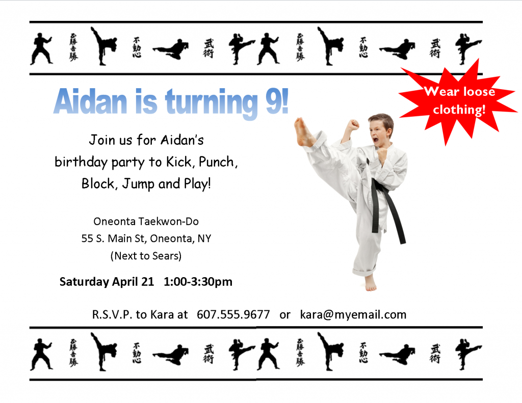 93 Online Karate Party Invitation Template For Free with Karate Party Invitation Template