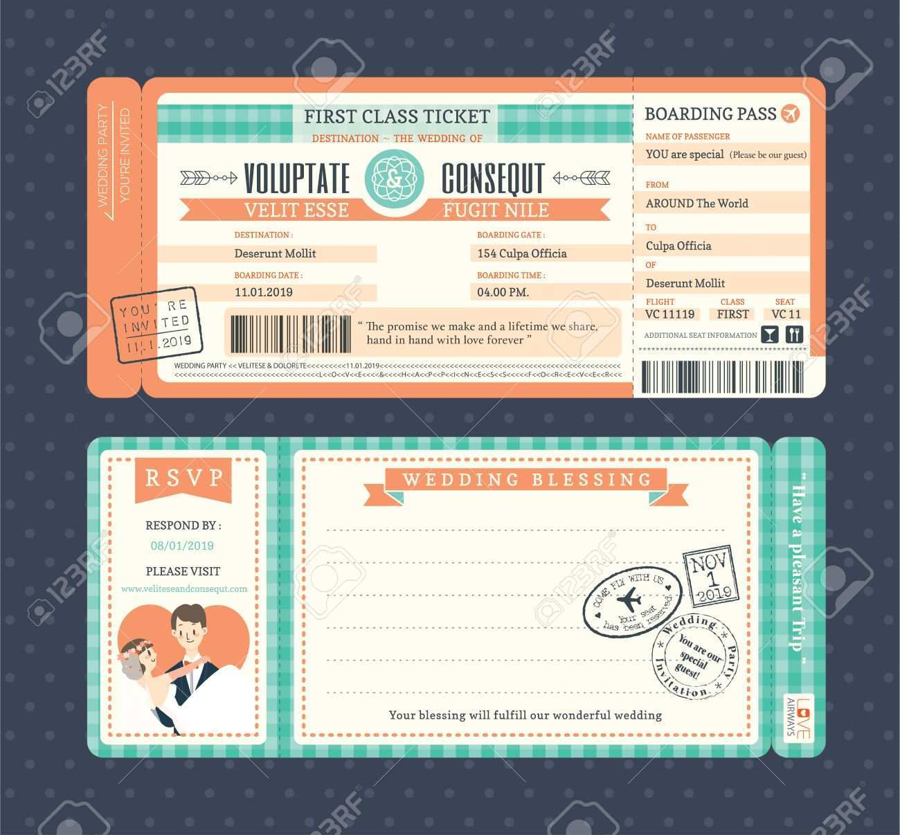 94 Customize Wedding Invitation Ticket Template Vector Free Download With Stunning Design by Wedding Invitation Ticket Template Vector Free Download