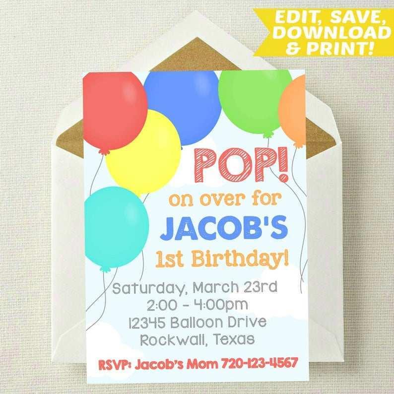 96 Printable Birthday Invitation Template Balloons Download for Birthday Invitation Template Balloons