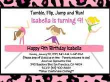 96 Printable Birthday Party Invitation Template Gymnastics Templates by Birthday Party Invitation Template Gymnastics