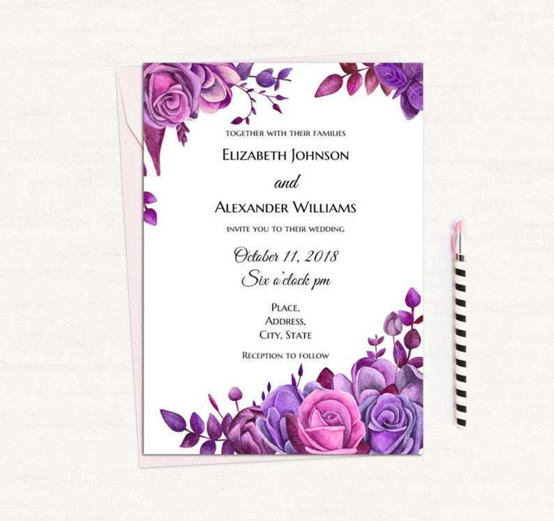 96 Report Wedding Invitation Templates Violet With Stunning Design for Wedding Invitation Templates Violet