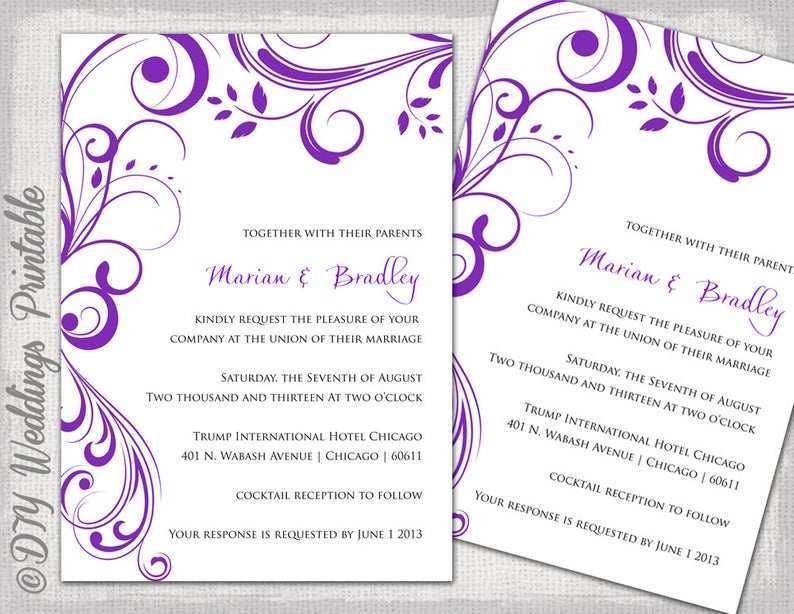 98 Creative Wedding Invitation Templates Violet With Stunning Design with Wedding Invitation Templates Violet