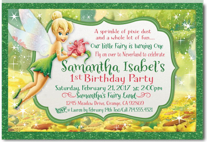 PRINTABLE Tinkerbell Fly On Over Birthday Invitation