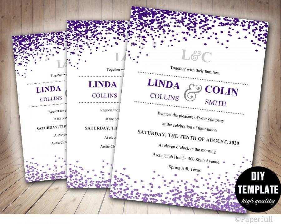 99 Online Wedding Invitation Templates Violet for Ms Word for Wedding Invitation Templates Violet